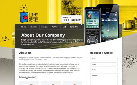 Screenshot of About Page simplycontrolledsystems.com - About Us - captured Oct. 26, 2014