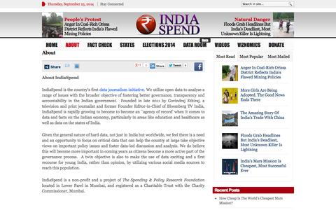 Screenshot of About Page indiaspend.com - About Journalism, Online Journalism | IndiaSpend - captured Sept. 25, 2014