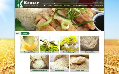 Screenshot of Products Page kausar.com.pk - Products - captured Feb. 12, 2016