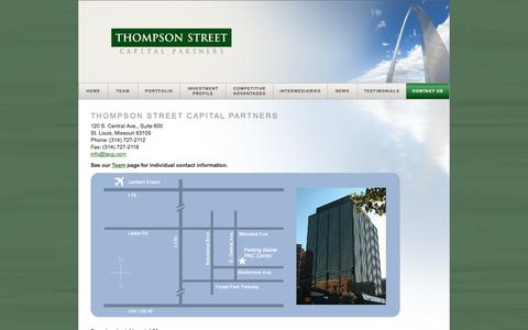 Screenshot of Contact Page tscp.com - Thompson Street Capital Partners - Thompson Street Capital Partners – Private Equity Firm - captured Oct. 7, 2014