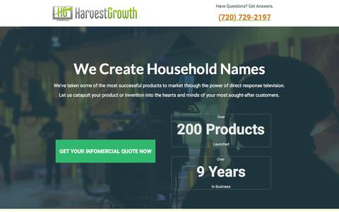 Screenshot of Landing Page harvestgrowth.com - HarvestGrowth Direct Response & Infomercial Marketing - captured Dec. 9, 2015