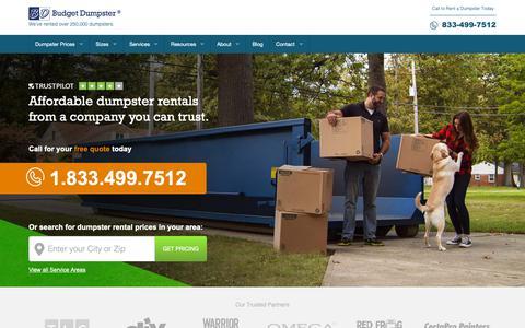 Screenshot of Home Page budgetdumpster.com - Dumpster Rentals for Less | Budget Dumpster - captured Nov. 13, 2018