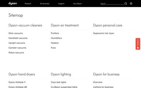 Screenshot of Site Map Page dyson.com - Dyson | Sitemap | Dyson - captured Feb. 8, 2018
