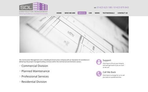 Screenshot of Services Page sdlbuilding.co.uk - Our Range of Services   SDL Construction Management - captured Feb. 3, 2016