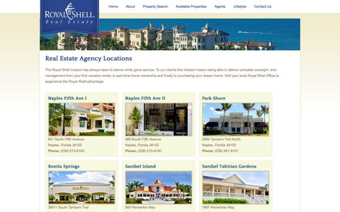 Screenshot of Locations Page royalshellrealestate.com - Locations | SW Florida Real Estate Agency | Royal Shell Real Estate :Royal Shell Florida Real Estate – Elite Homes and Condos for Sale – Bonita Springs, Cape Coral, Captiva, Estero, Fort Myers, Naples and Sanibel - captured Oct. 7, 2014
