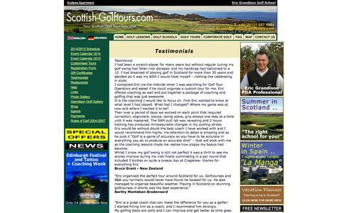 Screenshot of Testimonials Page scottish-golftours.com - Scottish Golf Tours - Testimonials - captured Oct. 6, 2014