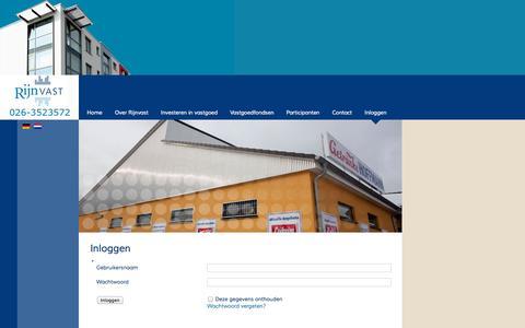 Screenshot of Login Page rijnvast.nl - Inloggen - Rijnvast - Investeren in Vastgoed - captured Oct. 9, 2014
