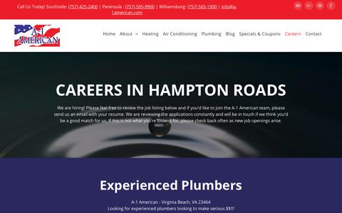 Screenshot of Jobs Page a-1american.com - Start Your Career With A-1 American HVAC and Plumbing - captured Oct. 1, 2018