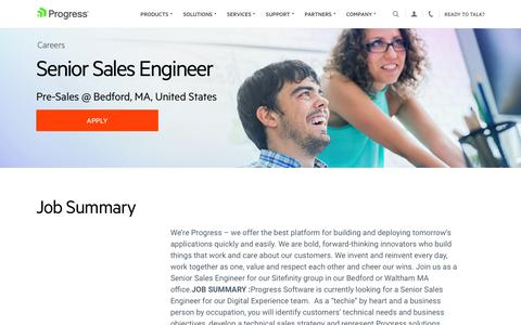 Screenshot of Jobs Page progress.com - Senior Sales Engineer, Pre-Sales @ Bedford, MA, United States - Progress Careers - captured July 17, 2019