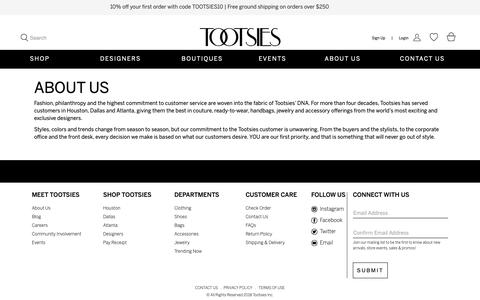 Screenshot of About Page tootsies.com - About Us | Tootsies - captured Oct. 19, 2018