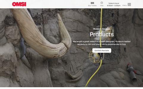 Screenshot of Products Page omsi.edu - Museum Services Products | OMSI - captured Sept. 20, 2018