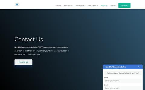 Screenshot of Contact Page Support Page smtp.com - SMTP - Contact Us - SMTP - captured Oct. 24, 2019