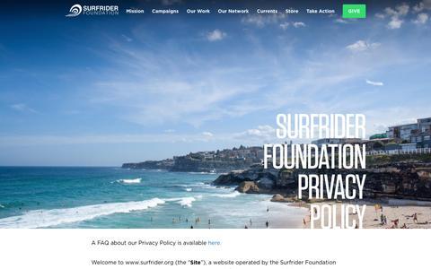 Screenshot of Privacy Page surfrider.org - Surfrider Foundation Privacy Policy - Surfrider Foundation - captured Jan. 26, 2016