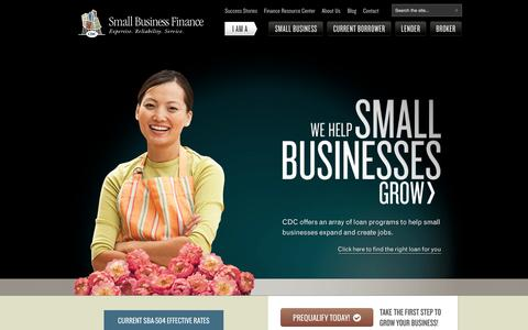 Screenshot of Home Page cdcloans.com - Small Business Loans San Diego, Start Up Business Financing, OC Micro Loans, SBA 7A Programs - captured Sept. 19, 2014