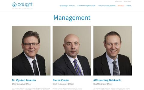 Screenshot of Team Page polight.com - PoLight AS - About us - Management - captured July 14, 2018