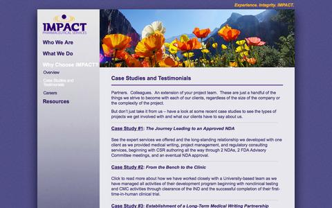 Screenshot of Case Studies Page impactpharma.com - Case Studies and Testimonials - IMPACT Pharmaceutical Services, Inc. - captured Feb. 10, 2016