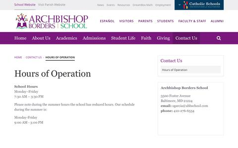 Screenshot of Hours Page abbschool.com - Hours of Operation | Archbishop Borders School - captured Oct. 25, 2018