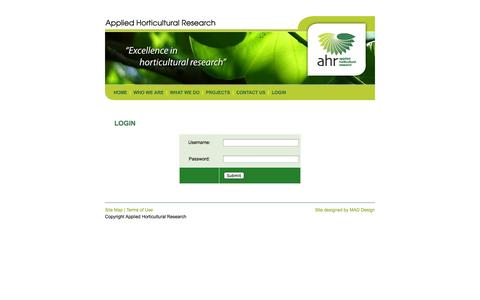Screenshot of Login Page ahr.com.au - AHR: Applied Horticultural Research - captured Oct. 4, 2014