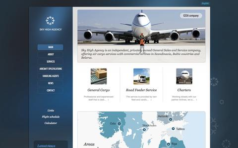 Screenshot of Home Page sh-agency.com - Sky High Agency: General cargo, Road feeder, Chartes services - captured Oct. 4, 2014