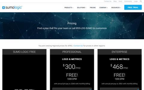 Screenshot of Pricing Page sumologic.com - Pricing APAC | Sumo Logic - captured Feb. 7, 2018