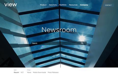 Screenshot of Press Page viewglass.com - Newsroom - captured Sept. 22, 2018