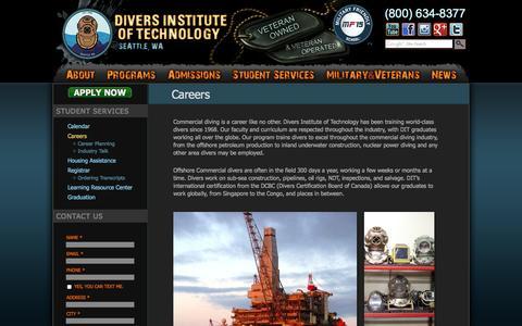Screenshot of Jobs Page diversinstitute.edu - Commercial Diving Careers, Jobs | Divers Institute of Technology - captured Nov. 3, 2014