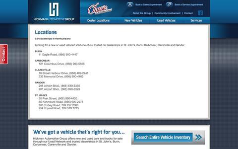 Screenshot of Locations Page hickmangroup.ca - Dealership Locations Newfoundland | Hickman Automotive Group - captured Oct. 2, 2014