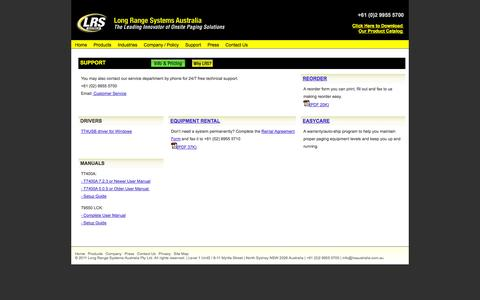Screenshot of Support Page lrsaustralia.com.au - Product Support Information - captured Oct. 3, 2014