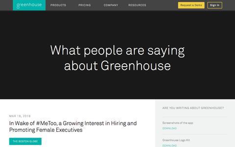 Screenshot of Press Page greenhouse.io - Greenhouse Press Coverage | Greenhouse - captured March 30, 2018