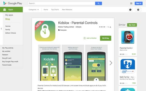 Screenshot of Android App Page google.com - Kidslox - Parental Controls - Android Apps on Google Play - captured Nov. 17, 2015