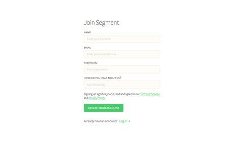 Create Your Account - Segment