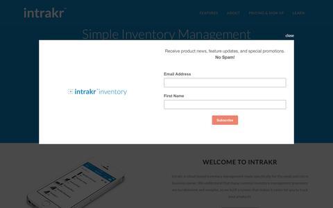 Screenshot of Home Page intrakr.com - Intrakr | Simple Inventory Management - captured Aug. 6, 2016