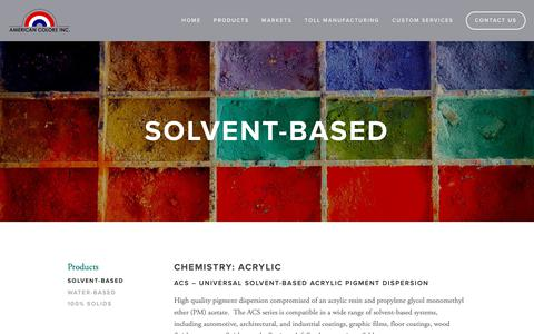 Screenshot of Products Page americancolors.com - Solvent-Based — American Colors - captured Oct. 22, 2018