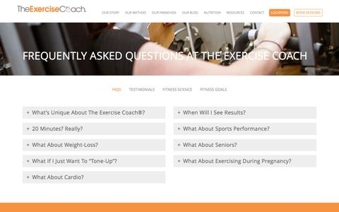 Screenshot of FAQ Page exercisecoach.com - Frequently Asked Questions | The Exercise Coach - captured Nov. 28, 2016