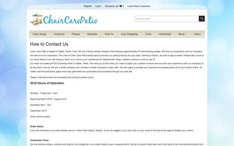 Screenshot of Contact Page chaircarepatio.com - Replacement Slings, Patio Slings, Patio Sling Chair Fabric, Outdoor Mesh Fabric, Custom Outdoor Cushions, Patio Furniture Parts, Sunbrella FabricPatio Chair Slings and Outdoor CushionsContact Us - captured Oct. 3, 2018