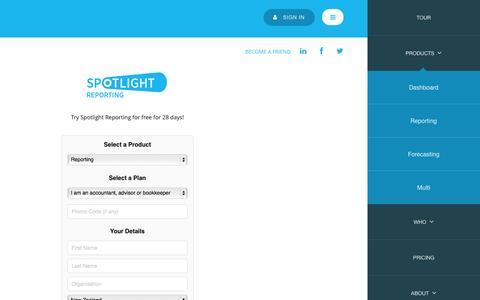 Screenshot of Trial Page spotlightreporting.com - Spotlight Reporting - captured Sept. 19, 2014