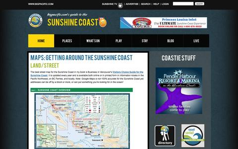 Screenshot of Maps & Directions Page bigpacific.com - Sunshine Coast Maps - Road, Town Centres, and Sunshine Coast Recreation Maps - captured Oct. 5, 2014