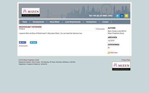 Screenshot of Blog mizen.co.uk - Mizen Properties - Blog - captured Dec. 1, 2016