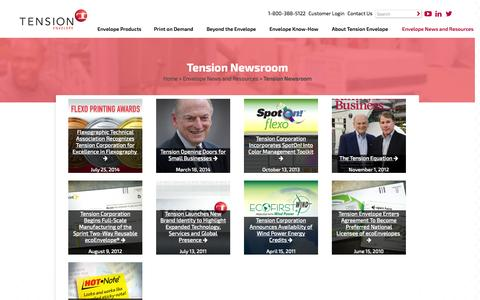 Screenshot of Press Page tensionenvelope.com - Tension Newsroom | Envelope News and Resources | Tension Envelope - captured Nov. 5, 2014
