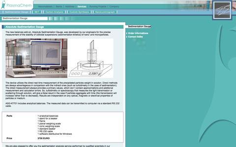 Screenshot of Services Page plasmachem.com - Plasmachem // Products, Services, Sedimentation Gauge - captured Sept. 30, 2014