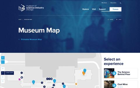 Screenshot of Maps & Directions Page msichicago.org - Museum Map - Museum of Science and Industry - captured Sept. 24, 2018