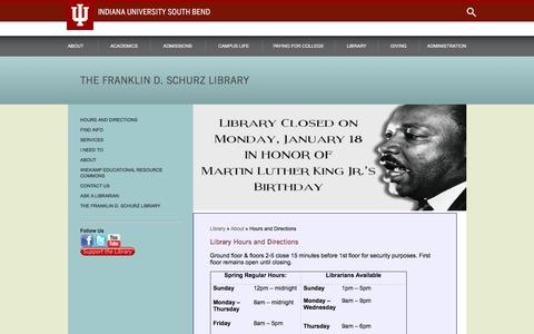 Screenshot of Hours Page iusb.edu - Library Hours and Directions - captured Jan. 14, 2016