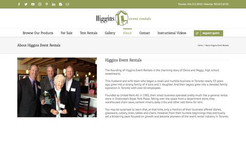 Screenshot of About Page Team Page higginseventrentals.com - About Higgins Event Rentals - captured July 19, 2018