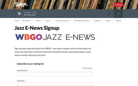 Screenshot of Signup Page wbgo.org - Jazz E-News Signup | WBGO - captured Oct. 26, 2017