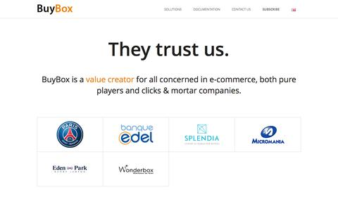 Screenshot of About Page buybox.net - BuyBox - Our clients - captured Sept. 12, 2014