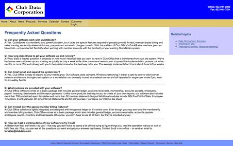 Screenshot of FAQ Page clubdata.com - Frequently Asked Questions - captured Oct. 3, 2014