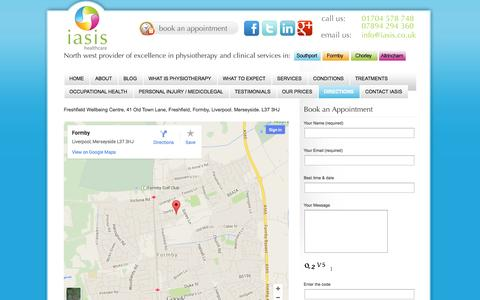 Screenshot of Maps & Directions Page iasis.co.uk - Directions Iasis Healthcare – Southport & Formby Physiotherapy Clinic - captured Nov. 5, 2014