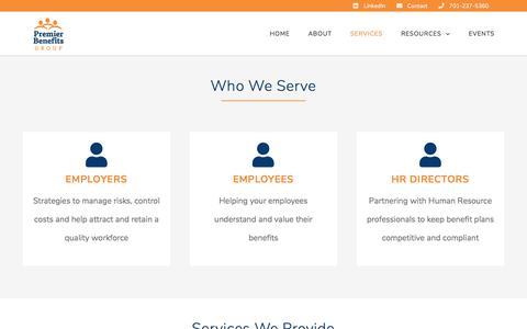 Screenshot of Services Page premierbenefitsnd.com - Services - Premier Benefits Group - captured Sept. 24, 2018