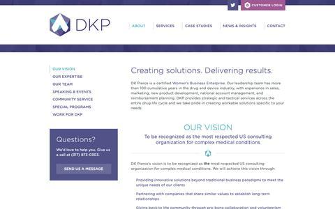 Screenshot of About Page dkpierce.net - Our Vision - DK Pierce - captured Oct. 7, 2018
