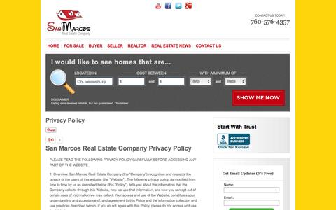 Screenshot of Privacy Page atsanmarcoshomes.com - Privacy Policy | San Marcos Real Estae Company| atSanMarcosHomes.com - captured Oct. 4, 2014
